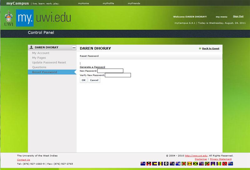 Update Password after login - myCampusNEWEE
